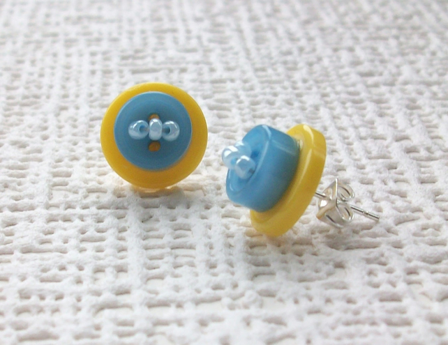 Yellow and Blue Stud  Button Earrings