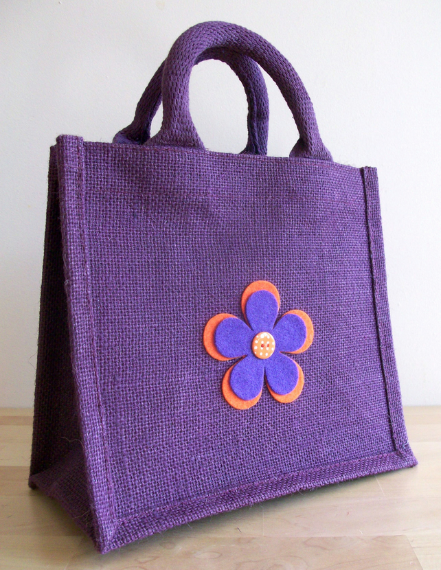 Purple Jute Lunch or Gift Bag - Felt Flower Motif