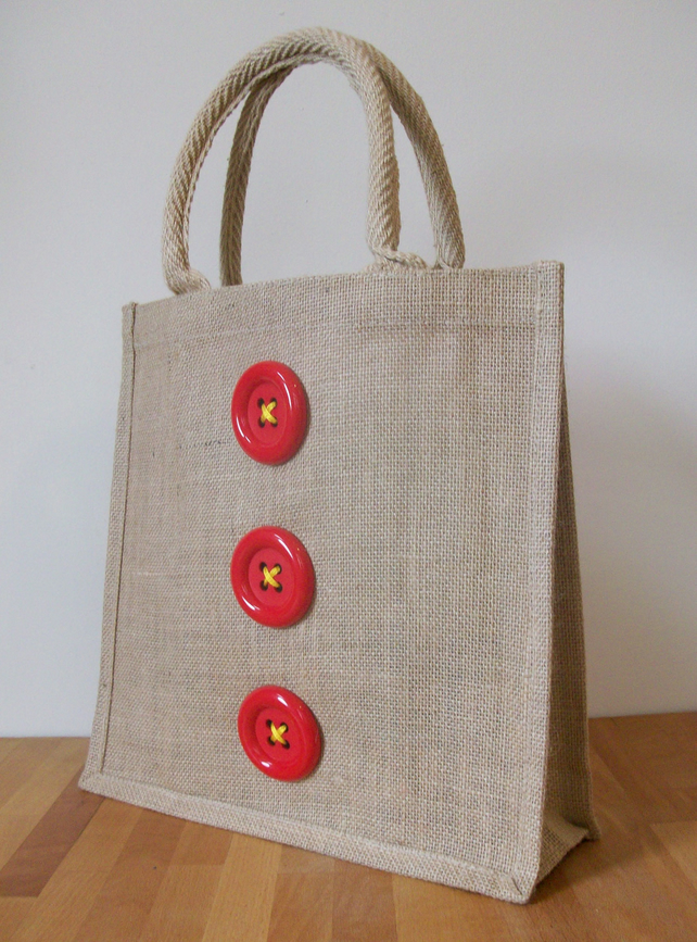 Natural jute hessian decorated medium shopping folksy Burlap bag decorating ideas