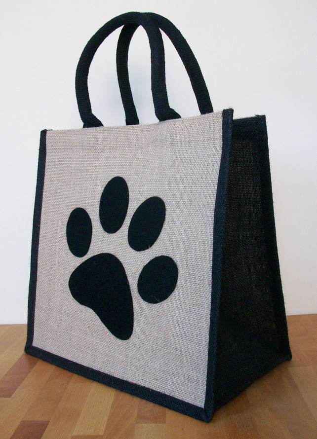 Natural Jute Hessian Black Trim Shopping Bag Folksy