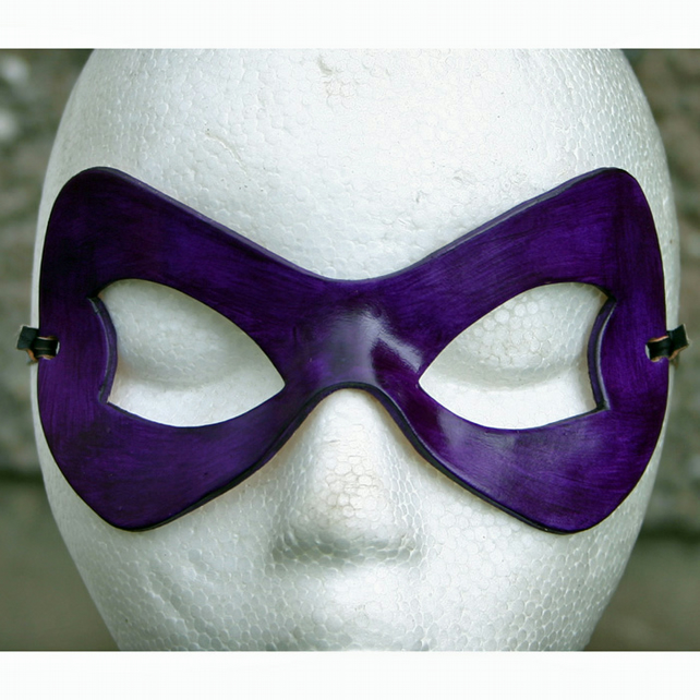 HARLEY QUINN Mask in Purple Leather. Arkham Asylum Batman Catwoman Halloween