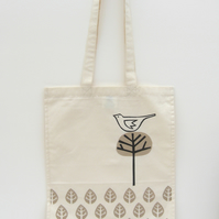Bird & leaf print long handle shopping bag