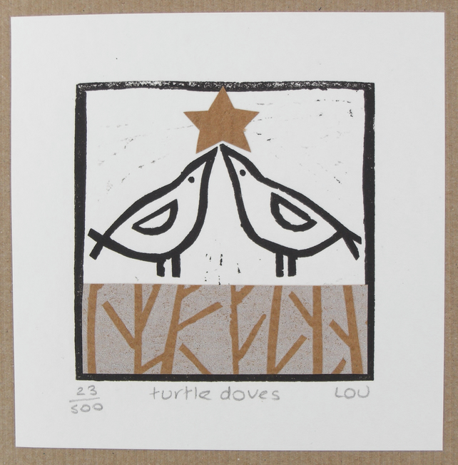 Christmas Card turtle Doves Linocut Folksy