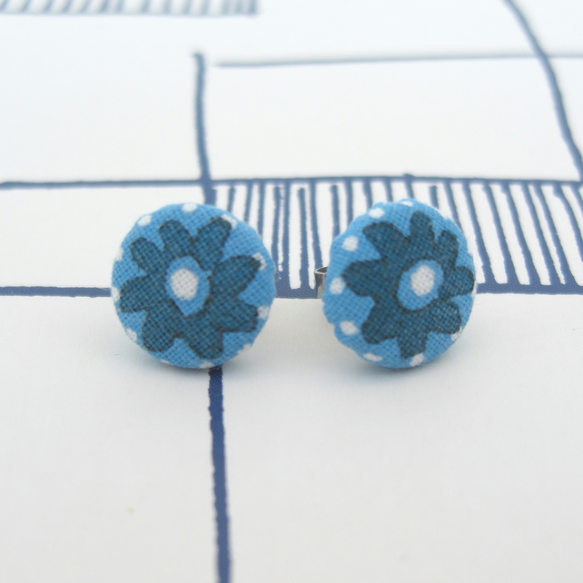 Hand printed fabric stud earrings
