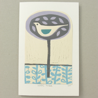 Hand printed 'Lilac Tree' greetings card