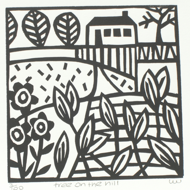 'Tree on the hill' lino print