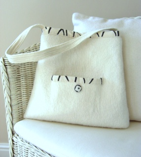 Cream & black hand felted bag