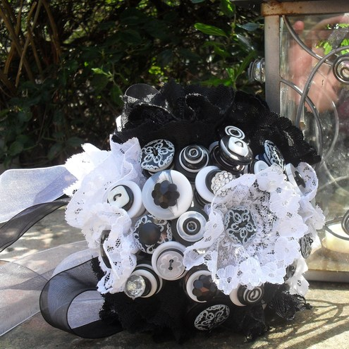 Monochrome Button and Lace Bouquet