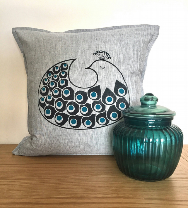 Hand-pulled screen-printed Scandinavian design peacock cushion