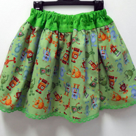 Cute Robots & Aliens Print Child Skater Skirt Age 4