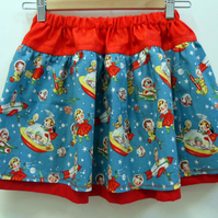 'Kids In Space' Retro Style Child Skater Skirt Age 5 - 7