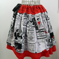 Black 'n' Red Adverts A Line Skirt Adjustable Approx Size 8 to Size 14