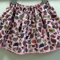Birds in Pink Adjustable Waist Skirt Age 2 years plus