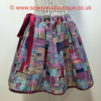 Retro Tickets and Labels Skater Skirt Adjustable Waist Approx Size 8 to Size 14