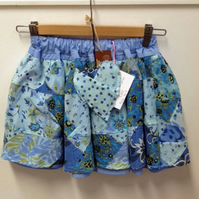 Patchwork Blues Adjustable Waist Skirt Age 4 years plus