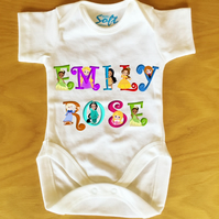Baby Vest baby grow body suit with Personalised Princess Name font
