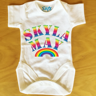 Baby Vest baby grow body suit with Personalised Rainbow font