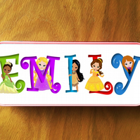 Metal Pencil Case personalised with Your Name in pretty Princess font