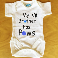 Baby Vest My Brother or My Sister has Paws personalised with Pink or Blue Paw