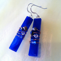 Cobalt blue fused glass & sterling silver drop earrings dangly pearl crystals