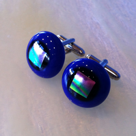 Fused glass cufflinks with dichroic square accent