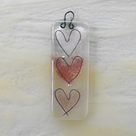 Pink hearts fused glass hanger