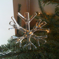 Fused glass snowflake christmas decoration