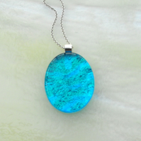 'Turquoise waters' dichroic fused glass & sterling silver pendant