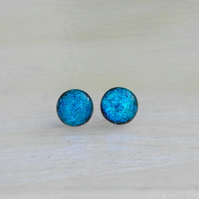 'Turquoise sparkle' - sterling silver studs