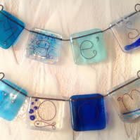 Child's name fused glass bunting personalised girl boy room children fish blue