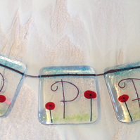 Poppy fused glass personalized bunting girls childs name door sign room