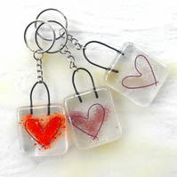 Fused glass heart key-ring wedding favour love stocking filler Christmas gift