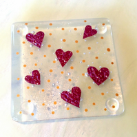 Little copper love hearts fused glass coaster red gold wedding Christmas