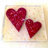 Twin copper love hearts fused glass coaster red gold wedding Christmas