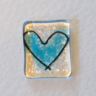 Personalized fused glass love heart card