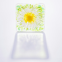 Daisy chain fused glass coaster daisies drinks table home kitchen yellow white