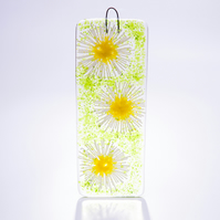 Daisy chain fused glass light-catcher wall art