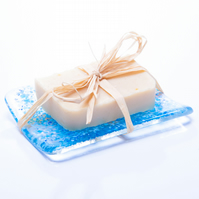 'Seashore' fused glass and natural soap gift set