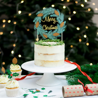 Christmas Wreath Paper Cake Topper