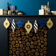 Large Christmas Bauble Paper Garland - Blue, White and Gold