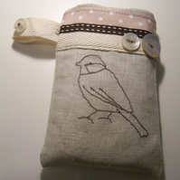 Bird Embroidered mobile phone case