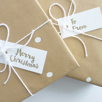 Snow and Gold Text – Letterpress Gift Wrap Set