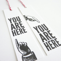 You Are Here – Set of 2 Letterpress Bookmarks