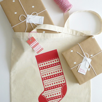 Christmas Stocking Tote – Cotton Tote Bag