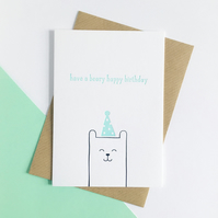 Have a Beary Happy Birthday – Letterpress Birthday Card