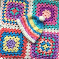 Crochet multicoloured Baby Granny square blanket with matching hat