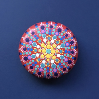 Hand painted Red, blues and yellows Wooden Mandala Stone