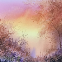 "Autumn Sunrise. Large Original Watercolour Painting 14"" x 10"""