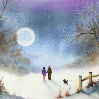 "Moonlit Walk Large Original Watercolour Painting 14"" x 10"""