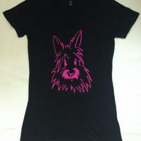 Bunny Rabbit Pink T-shirt screen printed - gift for her, animal, Valentine